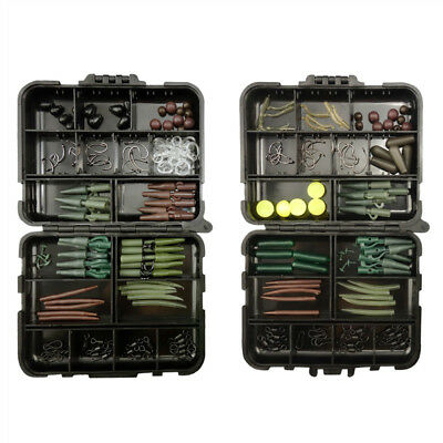 Full Fishing Carp Hair Rig Set Clips Hooks Clip Tubes Swivels Beads Tackle Box