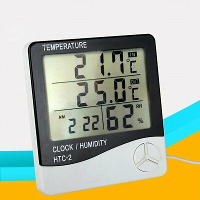 Electronic Thermometer Hygrometer Digital Monitor Alarm Clock With Probe UK