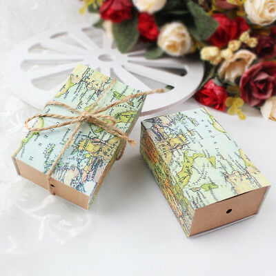 100 × Paper Gift Boxes Wedding Candy Box Guests World Map Kraft Paper Gift Bag