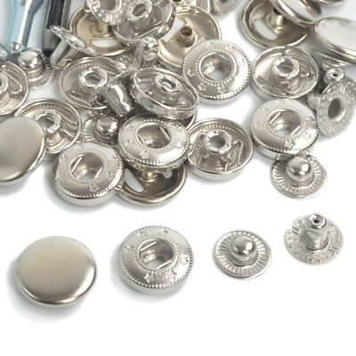 Silver 15/30/50/100 x 10/12.5/15/17mm Sewing Press Studs Popper Snap Fasteners