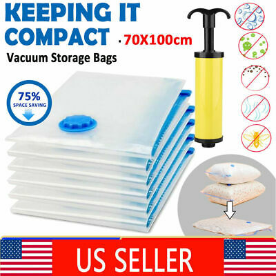 12xJumbo VACUUM SEAL GARMENT BAGS SPACE SAVER SAVING QUILT STORAGE BAG+HAND PUMP