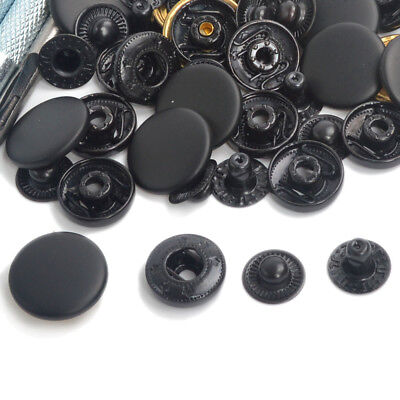 Black Press Studs 15/30/50/100 Set Snap Fasteners Popper Button 10/12.5/15/17mm