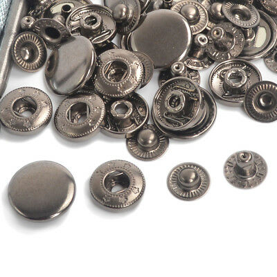 Gunmetal Black Press Studs Snap Fasteners Popper Sewing Button 10/12.5/15/17mm
