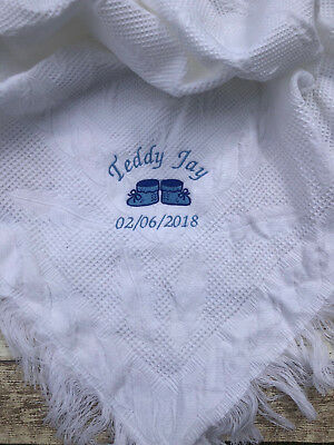 PERSONALISED BABY SHAWL BLANKET NAME EMBROIDERED BOY GIRL BIRTH GIFT CHRISTENING