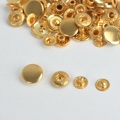 NEW Gold Metal Press Studs Snap Fasteners Poppers Sewing Buttons 10/12.5/15/17mm