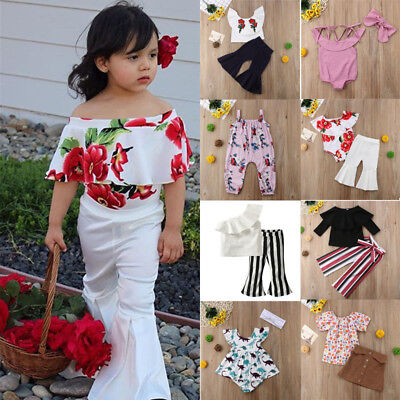 Toddler Kids Baby Girls Outfits Clothes T-shirt Tops+Pants/Skirt 2PCS Set  New