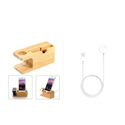 Magnetic Charging Cable for Apple Watch Series 1 2 3 38 42mm + Bamboo Holder