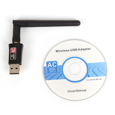 600Mbps Dual Band 2.4/5GhzWireless USB WiFi Network Adapter w/Antenna 802.11ACH5