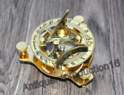 "Brass 3"" Sundial Compass Maritime Vintage West London Polish Finish Good Gift"