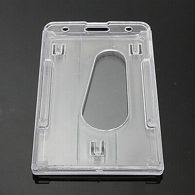 1pc vertical hard plastic id badge holder double card transparent