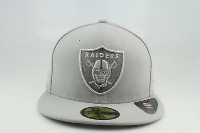 Oakland Raiders New Era 59Fifty Fitted Hat All Grey Design 79c3e6171