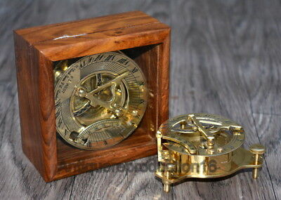 """Brass 3"""" Sundial Compass F.L. West And West London Polish Finish W/ Wooden Boxes"""