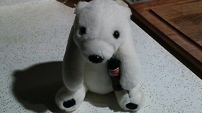 PLush White Polar Bear With COCA COLA Bottle Stuffed Toy COKE Collectible 9""