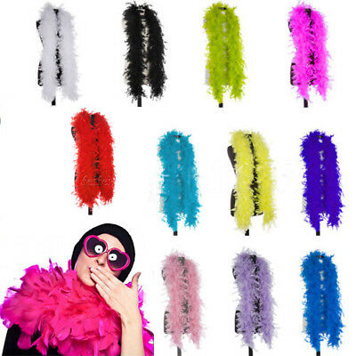 2xFEATHER BOA 80 GRAMS 180CM LONG THICK BURLESQUE 1920S FANCY DRESS COLOUR PARTY