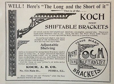 1895 Ad(1800-34)~Koch, A.b. Co. Peoria, Ill. Koch Shiftable Brackets