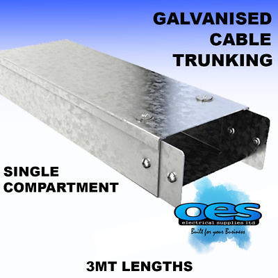 Metal Box Cable Trunking Galvanised 50Mm-75Mm-100Mm 3Mt Lengths  Lid + Coupler