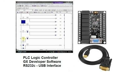 PLC Ladder Logic Programmable Controller Board 12 DC in, 8 Relay, GX Software