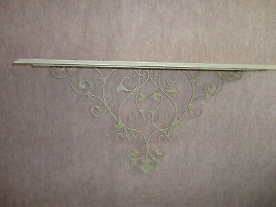 4 Your Home Interiors '' Green Metal & Cream Wood Shelf   Gorgeous  14'' x 26''