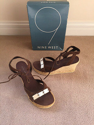 f58736e9fea NINE WEST BROWN Suede Ankle Strap Tie Espadrille High Wedge Sandal ...