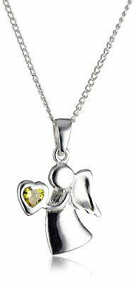 Sterling Silver & Citrine CZ Birthstone Angel Necklace 14 - 32 Inches