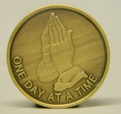 Aasobriety Medallion - Bronze - Praying Hands - One Day At A Time -Recovery Chip