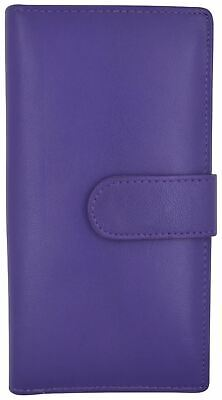 Genuine Leather PLAIN Checkbook Cover Purple with Snap Closure NEW!!!