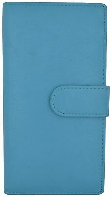 Genuine Leather PLAIN Checkbook Cover Baby Blue with Snap Closure NEW!!!