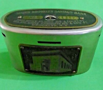 Antique Auto Recording Safe South Brooklyn Savings Wealthometer Coin Bank (H1)