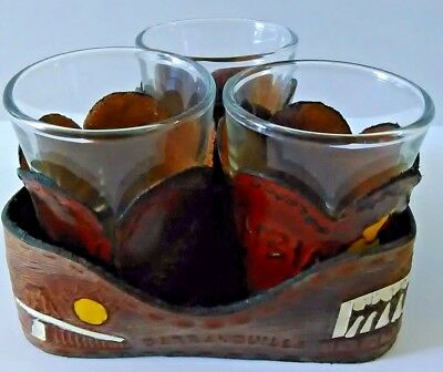 Souvenir Shot Glasses With Leather Sleeve Holders From Colombia 3-Pc Set