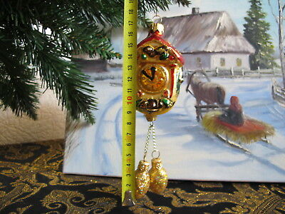 Clock Pinecone Weights Large Christmas ornament glass hand painted  #1 UKRAINE