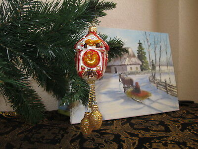 Clock Pinecone Weights Large Christmas ornament glass hand painted  # 2