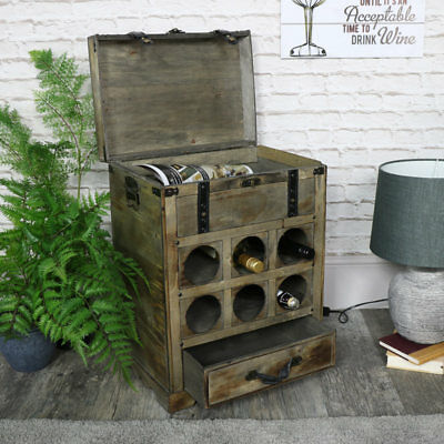 Small rustic wood wine bottle storage trunk vintage country style furniture