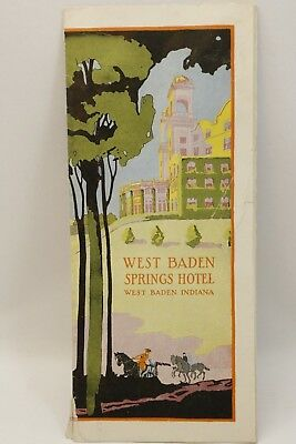 1924 WEST BADEN SPRINGS HOTEL Resort Brochure Indiana Mineral Baths French Lick