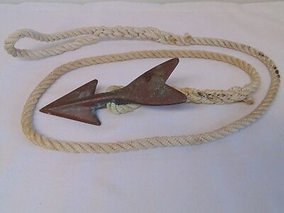 VINTAGE BRONZE HARPOON TIP SPEAR HEAD w/ ROPE for WHALING FISH TUNA GREAT PATINA
