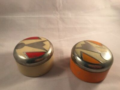 1920 Art Deco Deere Reich Ash New York Enamelled Rouge Face Powder Tins Boxes