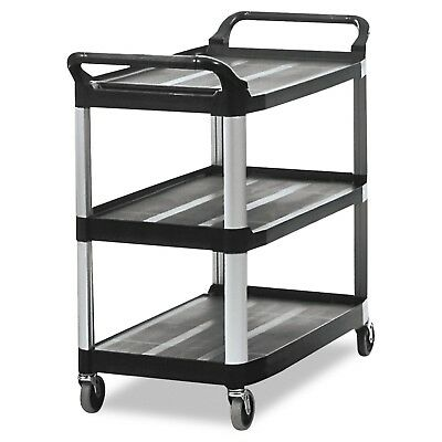 Rubbermaid Commercial Products 3 Shelf Service and Utility Cart, FG409100BLA