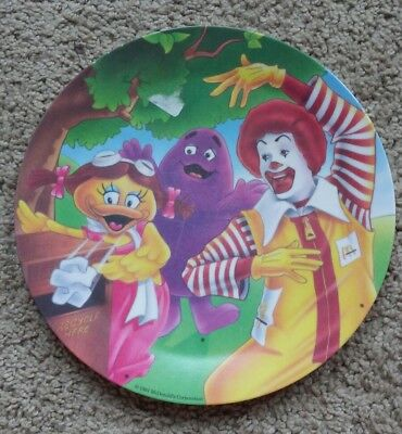 McDonalds Plastic Collector Plate * 1991 Vintage * Ronald Grimace Birdie Recycle