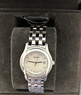 b07262fb93b GUCCI 5505 LADIES WATCH - Diamond Bezel   Stainless Steel - NEW in ...