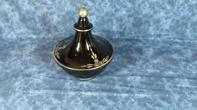 Antique Art Deco Amethyst/Black Glass Covered Candy with Silver Overlay