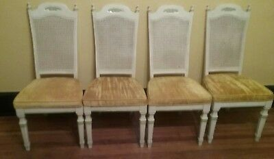 Vtg Set 4 STANLEY FURNITURE French Provincial Cane Back Dining Chairs