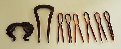 Collection of early plastic vintage Art Deco antique hair clips / grips / combs