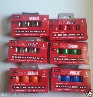 lot of 6 christmas xmas lights c9 replacement bulb green red clear new unused