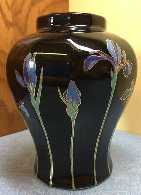 "Otagiri Vase Blue Iris Black with Blue Flowers 6"" Elegant Ginger Jar no lid"