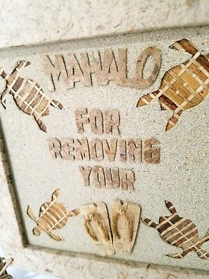 MAHALO For Removing Your Shoes Hawaiian Turtle Sandals Rattan Wood Frame Sign