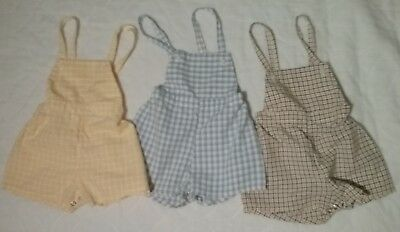 Sears Roebuck Vintage Baby Boy Shorts Overalls Plaid Lot of 3
