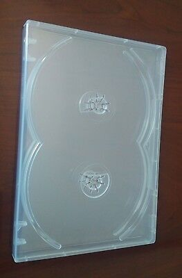 10 Pk MegaDisc Clear 4 Discs DVD Case Box 14 mm Holder No Flap Overlap Premium
