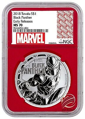 2018 Tuvalu BLACK PANTHER 1 oz Silver .9999 Marvel $1 NGC MS70 ER Red Core