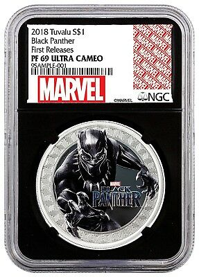 2018 BLACK PANTHER 1 oz Colorized Silver Marvel $1 NGC PF69 First Release Black
