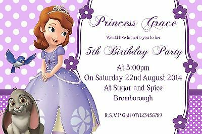 Princess sofia the first personalised party invitation invite princess sofia the first personalised party invitation invite birthday x10 stopboris Image collections
