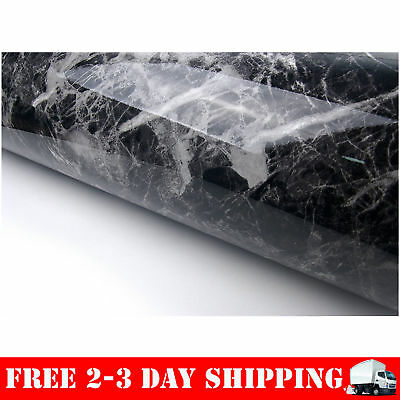 Black Grey Granite Look Marble Effect Contact Paper Film Vinyl Self Adhesive ...